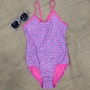 Old Navy pink and blue girls L10 swimsuit